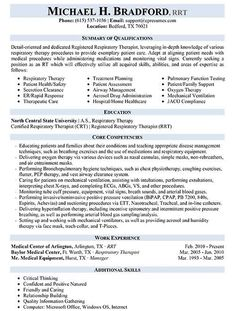respiratory therapist resume sample