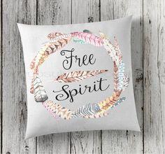 Free Spirit Pillow Feather Print Pillow by GypsyJunkDecorTrunk