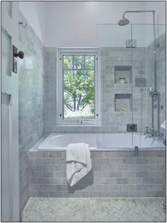 Traditional Bathroom - lovely inset bath with a shower combo, handy niche to kee. Traditional Bathroom - lovely inset bath with a shower combo, handy niche to keep all your bath/ shower items close . Kitchen And Bath Design, Bathroom Design Small, Bathroom Layout, Bathroom Interior Design, Bathroom Ideas, Bathroom Designs, Budget Bathroom, Bathroom Organization, Bath Ideas