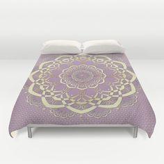 Lavender Duvet Cover Bohemian Mandala Duvet by DesignbyJuliaBars