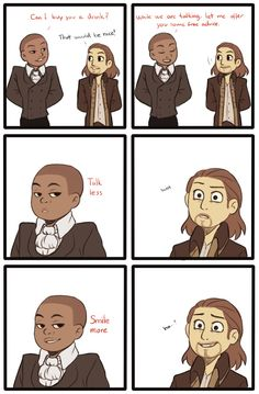 a super lazy comic i spend too much time on also i had no idea what outfits to draw them in so i just game them the same in different colours cus lazy yea AARON BURR, SIR Hamilton Fanart, Theatre Nerds, Theater, Musical Theatre, Hamilton Comics, Hamilton Lin Manuel Miranda, Aaron Burr, Hamilton Musical, And Peggy