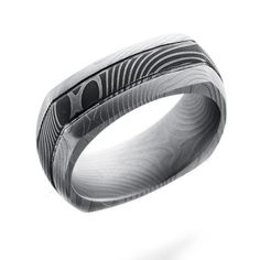 Lashbrook Flat Twist Patterned Damascus Steel 8MM Domed Square Wedding Band