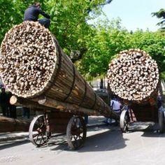 San Marco in Lamis, in the province of #Foggia, is worth visiting tomorrow, as the procession of the 'fracchie' occurs annually on #GoodFriday. Fracchie are 6-10 meters long cone-shaped tree trunks, split in two and filled with dry wood branches that look like  torches. Loaded on carts, these massive torches light the way for the Madonna Addolorata procession on Good Friday. #AriaLuxuryApulia #LuxuryVillasWithPoolPuglia