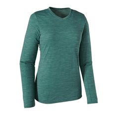 The Patagonia Women's Long-Sleeved Merino Daily V-Neck T-Shirt is made of our regular fit, everyday Merino baselayer for all-day comfort and easy care. $65