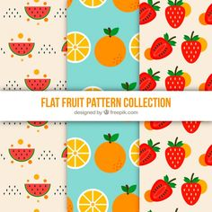 Flat fruit pattern collection #Free #Vector ×  #Background #Pattern #Food #Design #Fruit #Color #Fruits #Patterns #Tropical #Flat #Backdrop #Decoration #Colorfulbackground #Seamlesspattern #Healthy #Flatdesign #Decorative #Eat #Patternbackground #Healthyfood
