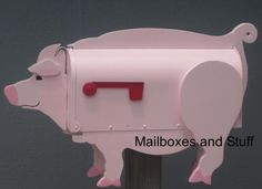 Offering a variety of novelty Pig Mailboxes that can be painted in your choice of colors! Pigs DO Fly at Mailboxes and Stuff