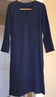 Piazza Sempione Dress Made In Italy Blue Long Sleeve Size 48 #PiazzaSempione