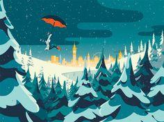 PRINTEMPS Christmas Windows - Tom Hangomat for Tiphaone Illustration