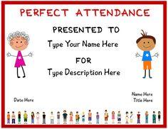 perfect attendance award template