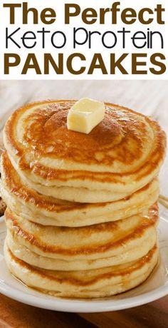 The Best Low Carb Keto Protein Pancakes Zero net carbs, zero calorìes and tastes just lìke sugar! Power up your breakfast wìth thìs quìck and easy proteìn pancake recìpe. - The Best Low Carb Keto Protein Pancakes Easy Protein Pancakes, Tasty Pancakes, Low Carb Pancakes, Protein Powder Pancakes, Best Keto Pancakes, Keto Pancakes Coconut Flour, Keto Cream Cheese Pancakes, Protein Pancake Recipes, Sugar Free Pancakes