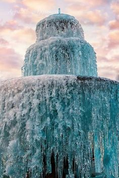 frozen water fountain at sunset in Valdese, NC