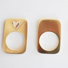 Flat Retangular Brass Rings - We Heart This - R350