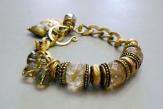 Cashmere Charm Bracelet with Quartz and Gold.