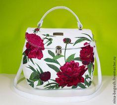 """Сумка с вышивкой """"Пионы"""", кожаная сумка, сумка кожаная белая - белый,белая сумка"""