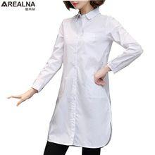 Camisa blanca de las mujeres blusas de manga larga 2017 algodón otoño señoras de la oficina camisetas tops corea moda blusas ropa femininas 5XL(China)