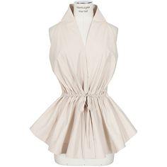 Azzedine Alaïa beige gathered cotton top ($1,640) ❤ liked on Polyvore