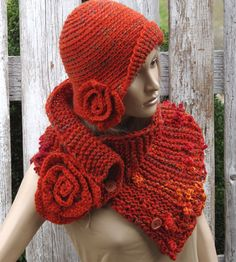 Unique scarf made. Warm and pleasant to the touch. Color: shadows orange, red yellow blue- melange Size: One size fits all about materials used: bucle button Care instruction: hand wash using warm Crochet Flower Scarf, Freeform Crochet, Crochet Scarves, Crochet Clothes, Cotton Crochet, Knit Crochet, Crochet Hats, Crochet Hat For Women, Crochet Woman