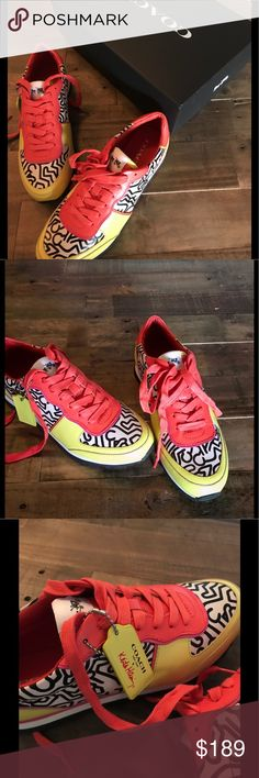 Coach limited edition Keith Haring sneakers Coach limited edition sneakers in bright orange, yellow and black leather by Keith Haring. Super comfortable leather sneakers. Size 7 , run a bit big and may also work for 7.5. Coach Shoes Sneakers