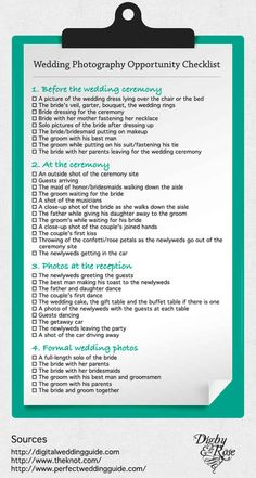 Photography Check List something to make your day go a bit easier!