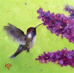 "Daily+Paintworks+-+""Costa+Hummingbird+&+Lilacs""+-+Original+Fine+Art+for+Sale+-+©+Krista+Eaton"