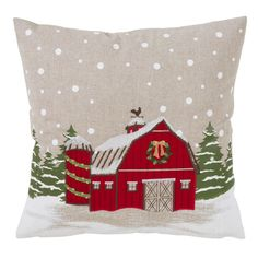 Poly Christmas Throw Pillow With Holiday Barn Design And Down Filling - Saro Lifestyle holiday barn throw pillow is so versatile, there is no wrong place for it. Wherever you decide to throw it, it will bring the Christmas spirit and its warm Christmas Tree Farm, Christmas Store, Christmas Pillow, Christmas Crafts, Christmas Decorations, Holiday Decor, Christmas Cushions, Christmas Sewing, Xmas