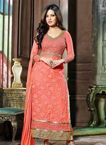 Riya Sen Peach Color Long Length Salwar Kameez