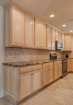 Kitchen Cabinet Sizes, Frameless Kitchen Cabinets, Maple Kitchen Cabinets, Kitchen Cabinet Design, Kitchen Decor, Hickory Kitchen, Brown Cabinets, Green Kitchen, Dark Granite Countertops