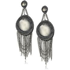 """measurements: 1.85"""" wide. 5.66"""" long. item details: Small round beads on leather with draping chains. Stud back fastening. Hand beaded. Made in India. See all …"""