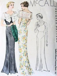 1930s McCall Pattern 7857 ~ Beautiful Art Deco bias cut evening gown with a portrait collar stole and large bow.