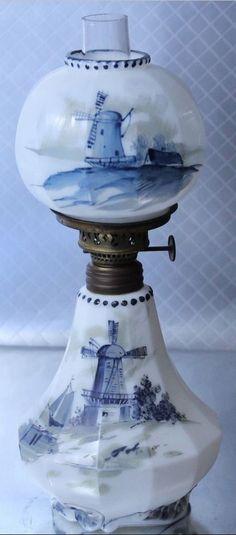 Rare Antique Delft Miniature Oil Lamp