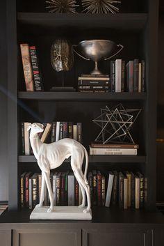 black bookshelves