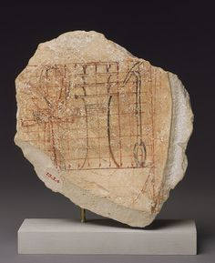 """New Kingdom, Dynasty 18, reign of Hatshepsut, ca. 1479–1458 B.C.  Egyptian; From western Thebes  Limestone and ink.  This small sketch depicts a frequently occurring group of hieroglyphs meaning """"life, prosperity, and dominion."""" The grid lines allowed the artist to draw the hieroglyphs at whatever scale was needed.