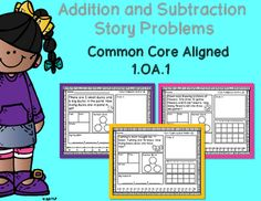 This product is perfect for practice or small group interventions with addition and subtraction story problems within 10 and within 20. This packet contains 20 story problems aligned with the common core standard 1.OA.1. It includes:5 - Adding within 105 - Adding within 205 - Subtracting within 105 - Subtracting within 20This packet is design to allow students to show multiple ways to solve an equation.