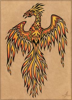 Flame phoenix - tattoo design by =AlviaAlcedo on deviantART