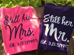 Excited to share this item from my shop: Wedding shirts husband and wife shirts vow renewal renew vows anniversary wedding still her mr still his mrs est wedding date 20 Wedding Anniversary, Anniversary Photos, Anniversary Parties, Anniversary Funny, Renewal Wedding, Wedding Vows, Wedding Rustic, Wedding Attire, Monogram Tank