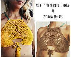 "PDF-file for Crochet PATTERN, Sunflower Crochet Bikini Top, Sizes XS,S,M,L, Croptop, with 2 different Hexagon ""mandalas"""