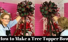 Learn How to Make a Christmas Tree Topper Bow with Grace Monroe Home Diy Christmas Tree Topper, Xmas Tree Toppers, Diy Tree Topper, Merry Christmas, Ribbon On Christmas Tree, Christmas Bows, Christmas Decorations, Christmas Ideas, Christmas Crafts