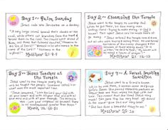 the Easter Story – FREE Printables! | Happy Home Fairy - 2 pages, cards for each day of passion week