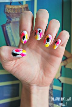 burkatron | UK fashion & nail art blog: 90's graffiti splatter nail art tutorial!