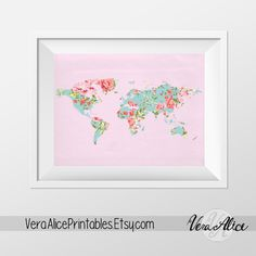 Pink Floral World Map Poster Art Print Instant Download Printable Decor Digital Art Print 8x10 16x20 11x14 World Map Floral Wall Decor by VeraAlicePrintables