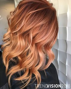 Melted Rose Gold By Sarah Harris . Enter TrendVision 2018 Melted Rose Melted Rose Gold By Sarah Harris . Enter TrendVision 2018 Melted Rose Gold By Sarah Harris . Enter TrendVision 2018 with just TWO HASHTAGS this year. Blonde Lowlights, Red Hair With Blonde Highlights, Red Balayage Hair, Red Blonde Hair, Red Ombre Hair, Strawberry Blonde Hair, Ombre Hair Color, Copper Blonde Balayage, Ombre Ginger Hair