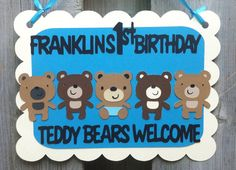 Teddy Bear Theme Door Sign, Teddy Bear Picnic Party Decorations and Ideas, Personalized Birthday Signs