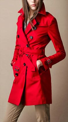 Red Shinning Trench Coat