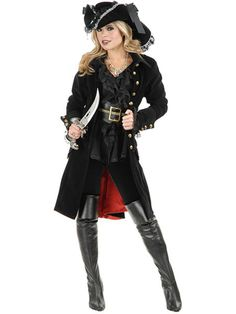 black punk Pirate Captain Costume women adult party cosplay halloween costumes for women pirate costume women y hat - Alternative Measures - - 1 Pirate Cosplay, Adult Pirate Costume, Pirate Halloween Costumes, Halloween Kostüm, Adult Costumes, Costumes For Women, Women Halloween, Cosplay Costumes, Knight Halloween