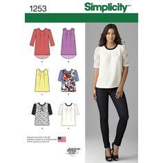 Misses' scoop-neck top can have a shirttail hem in sleeveless or with three-quarter sleeves. Blouse-length top can be sleeveless or have half-sleeves with contrasting sleeve and trim options. Simplicity sewing pattern.
