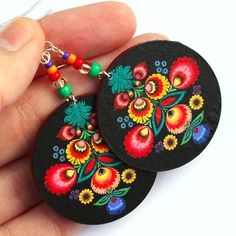 Polish Folk decoupage Earrings - These are beautiful-gorgeous with a black t-shirt!