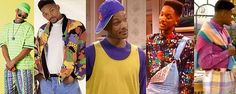 Menswear for the 1990's (urban) was usually very vibrant, featured a lot of denim, baseball caps [turned backwards in pop culture], a lot of seersucker, jerseys, and over sized t-shirts.