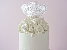 We Do Wedding Cake Topper Double Heart Embossed by FoilingStar, $26.00