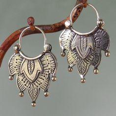 Alhambra Earrings -number 1 -  tribal style - sterling silver - hoop. $52.00, via Etsy.