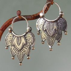 Alhambra Earrings -number 1 -  tribal style - sterling silver - hoop. $52.00, via Etsy.  These are Gorgeous!